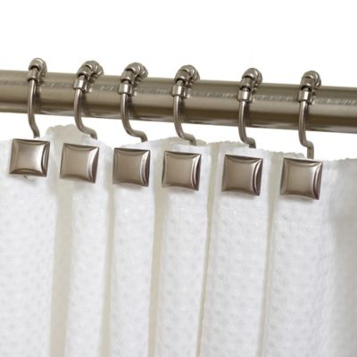 Verdanza Metal Square Roller Shower Curtain Hooks (Set of 12)