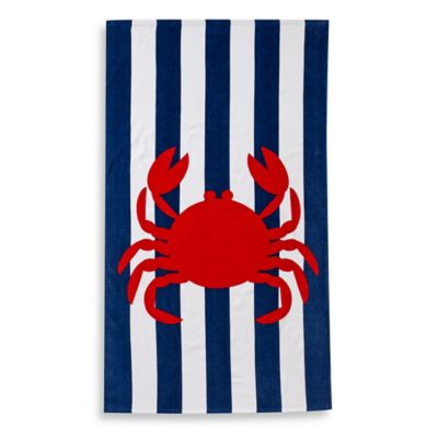 Baltic Linen® Crab Print Beach Towel in Navy