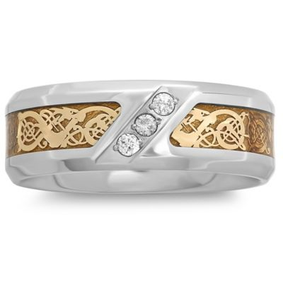 Stainless Steel .10 cttw Diamond Yellow Ion-Plated Celtic Inlay Size 11 Men's Wedding Band