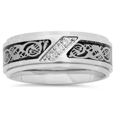 Stainless Steel .10 cttw Diamond Black Ion-Plated Celtic Inlay Size 7.5 Men's Wedding Band