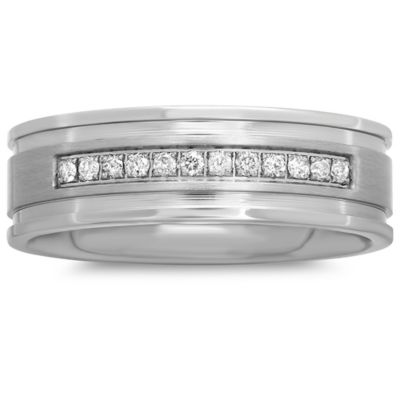 Stainless Steel .12 cttw Diamond Single Row Size 7 Men's Wedding Band