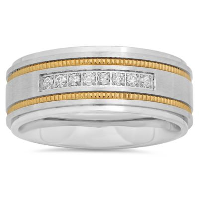 Stainless Steel .15 cttw Diamond and Yellow Milgrain Single Row Size 12 Men's Wedding Band