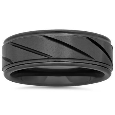 Ceramic Grooved Size 7 Men's Band Rings