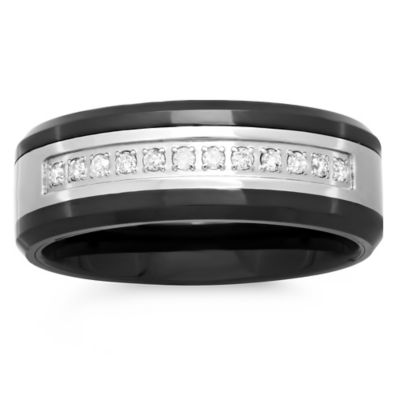 Stainless Steel and Black Ceramic .12 cttw Diamond Single Row Size 9.5 Men's Wedding Band