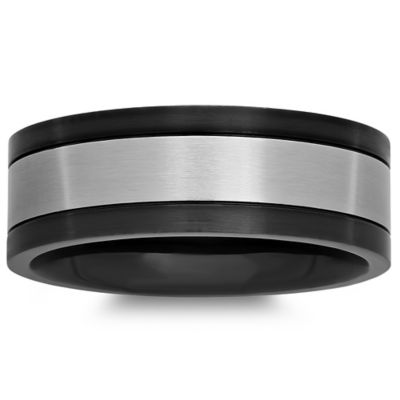 Black and White Stainless Steel Size 7 Men's Wedding Band
