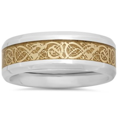 Stainless Steel Yellow Ion-Plated Celtic Inlay Size 7 Men's Wedding Band