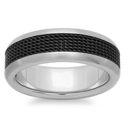 Stainless Steel Black Mesh Inlay Size 7 Men's Wedding Band