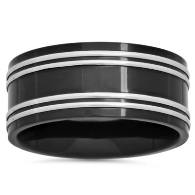 Black Ion-Plated Stainless Steel Double Row Size 7 Men's Wedding Band