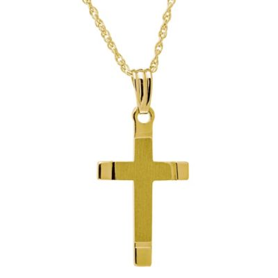 Jewels of Faith 14K Yellow Gold 18-Inch Satin and Polished Hand-Engraved Cross Pendant Necklace