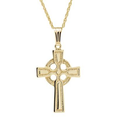 Jewels of Faith 14K Yellow Gold 18-Inch Chain Celtic Cross Pendant Necklace