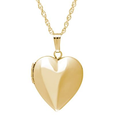New England Locket 14K Yellow Gold 18-Inch 15mm Polished Heart Locket Pendant Necklace