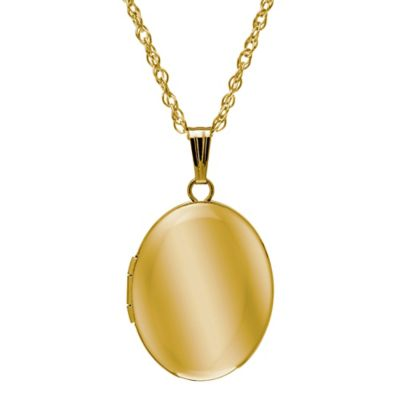 New England Locket 14K Yellow Gold 18-Inch Chain 14mm x 17mm Oval Locket Necklace