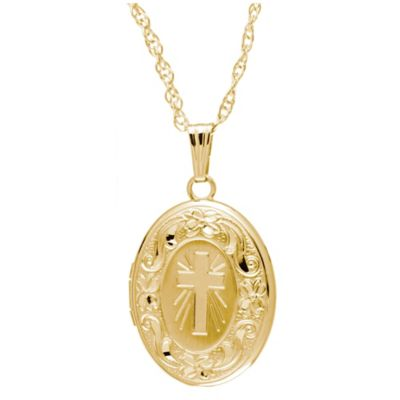 New England Locket 14K Yellow Gold 18-Inch Chain 14mm x 17mm Oval Engraved Cross Locket Necklace