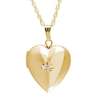 New England Locket 14K Yellow Gold .01 cttw Diamond 18-Inch 15mm Heart Locket Pendant Necklace