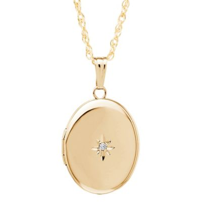 New England Locket 14K Yellow Gold .01 cttw Diamond Polished 14mm x 17mm Oval Locket Necklace