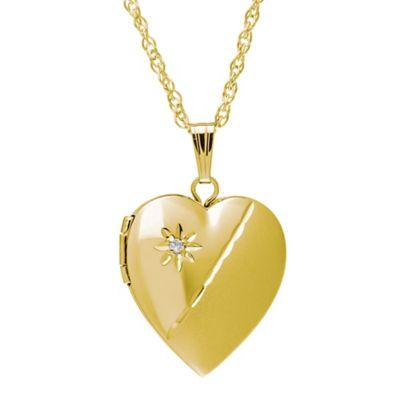 New England Locket 14K Yellow Gold .01 cttw Diamond 15mm Sandblasted Heart Locket Pendant Necklace