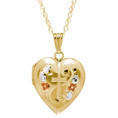 New England Locket Tricolor 14K Gold 18-Inch Chain Heart Cross Locket Necklace