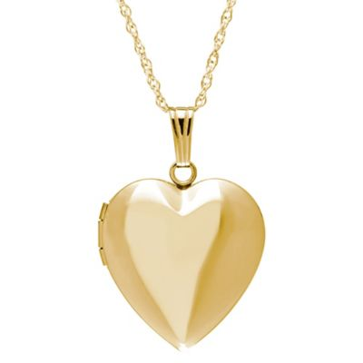 New England Locket 14K Yellow Gold 18-Inch Chain 19mm Heart Locket Necklace