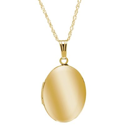 New England Locket 14K Yellow Gold 18-Inch Chain 17mm x 22mm Oval Locket Necklace