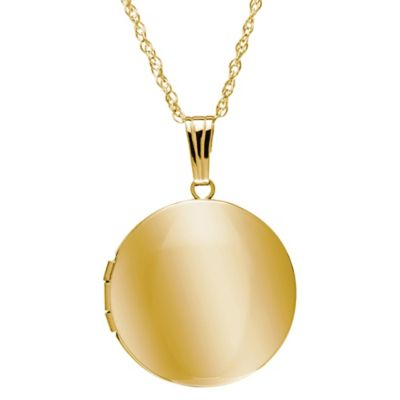 New England Locket 14K Yellow Gold 19mm 18-Inch Chain Round Locket Pendant Necklace