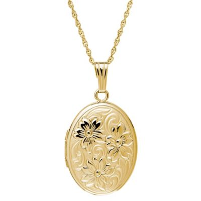 New England Locket 14K Yellow Gold 18-Inch Chain Flower Engraved Oval Locket Pendant Necklace