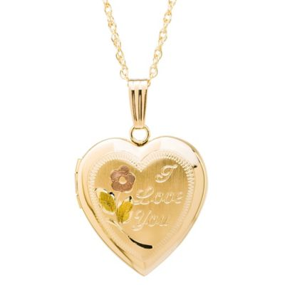 "New England Locket 14K Yellow Gold Tri-Color Engraved ""I Love You"" Heart Locket Pendant Necklace"