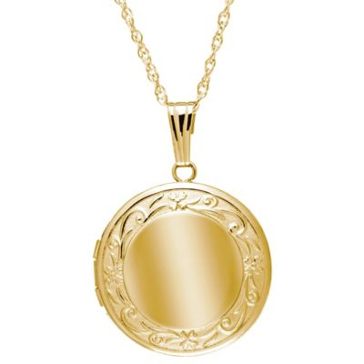 New England Locket 14K Yellow Gold 19mm 18-Inch Chain Embossed Edge Round Locket Pendant Necklace