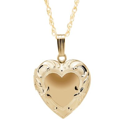 New England Locket 14K Yellow Gold 19mm 18-Inch Chain Embossed Edge Heart Locket Pendant Necklace