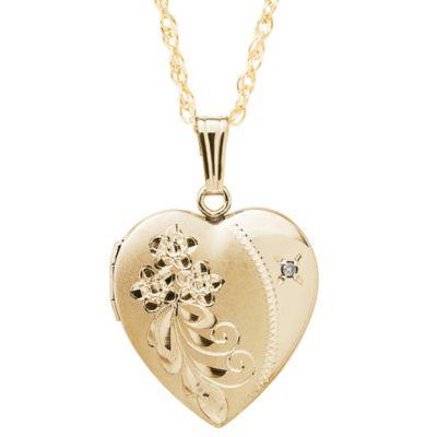 New England Locket 14K Yellow Gold .10 cttw Diamond 19mm Cascading Bouquet Heart Locket Necklace