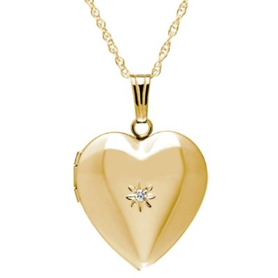 New England Locket 14K Yellow Gold .01 cttw Diamond 18-Inch Chain 19mm Heart Locket Pendant Necklace