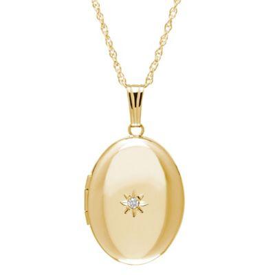 New England Locket 14K Yellow Gold .01 cttw Diamond Polished 17m x 22mm Oval Locket Necklace