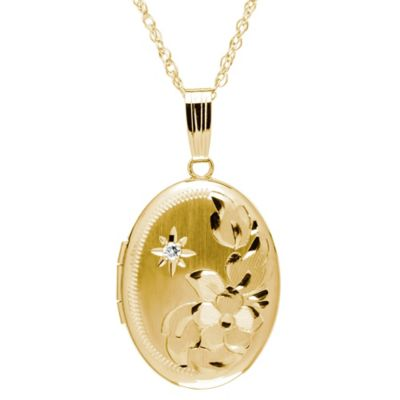 New England Locket 14K Yellow Gold .01 cttw Diamond Flower Engraved Oval Locket Pendant Necklace