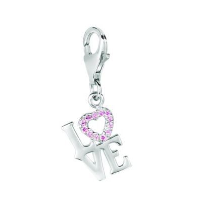 "Personality Sterling Silver Pink Crystal ""Love"" Charm"