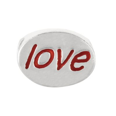 "Personality Sterling Silver and Red Enamel Oval ""Love"" Bead"