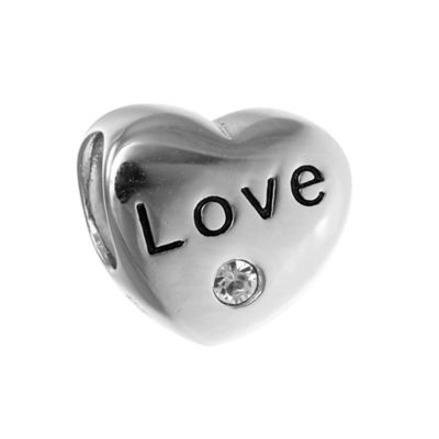 Personality Sterling Silver Heart Bead with Clear Crystal Accent