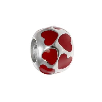 Personality Sterling Silver Red Enamel Heart Bead