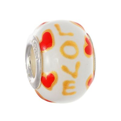 "Personality Sterling Silver White Enamel ""Love"" Round Bead"
