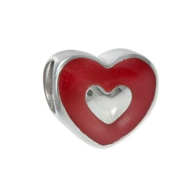 "Personality Sterling Silver Reversible Red Enamel Heart ""Love"" Bead"