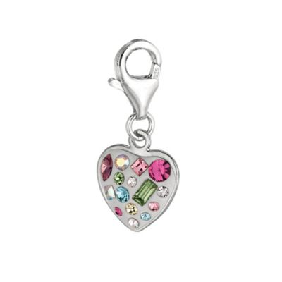 Personality Sterling Silver Multi Crystal Heart Charm
