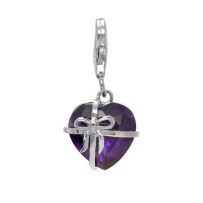 Personality Sterling Silver Heart Shape Purple Cubic Zirconia Bow Charm
