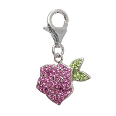 Personality Sterling Silver Crystal Flower Charm