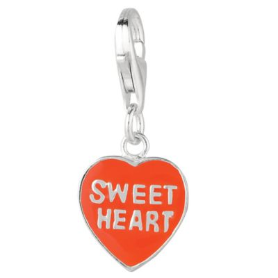 Personality Sterling Silver Reversible Red and White Enamel Heart Charm