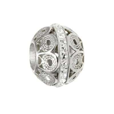 Personality Sterling Silver Filigree Bead with Clear Crystals