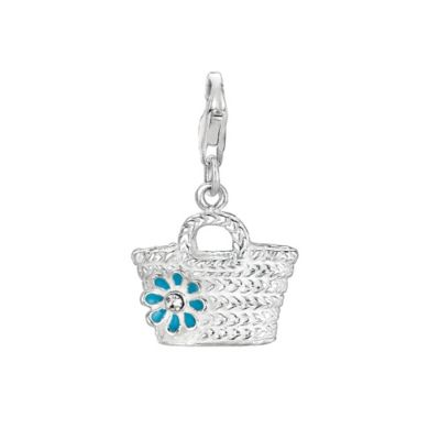 Personality Sterling Silver Straw Bag Charm