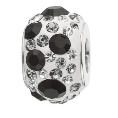 Personality Sterling Silver Black and White Crystal Bead