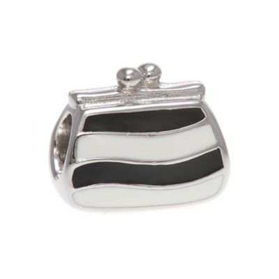 Personality Sterling Silver Reversible Black and White Enamel and Rhinestone Purse Bead