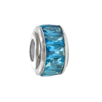 Personality Sterling Silver Aqua Baguette Crystal Bead