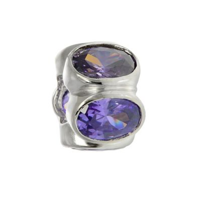 Personality Sterling Silver Oval Purple Cubic Zirconia Bead