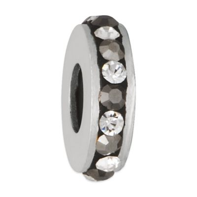Personality Sterling Silver Clear and Black Crystal Stopper Bead