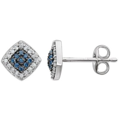 14K White Gold .18 cttw Blue and White Diamond Square Earrings